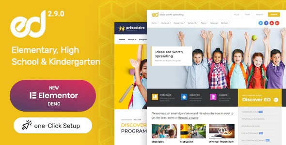 Ed School Elementary, High School and Kindergarten WordPress Education Theme Banner