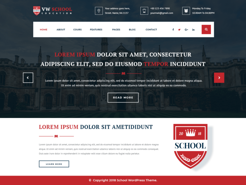 VW School Education Free WordPress Theme screenshot